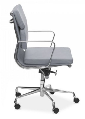 Eames Mid Back Soft Pad In Grey Leather