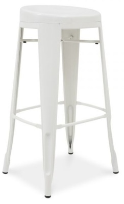 Xavier Pauchard White High Stool With A Round Seat