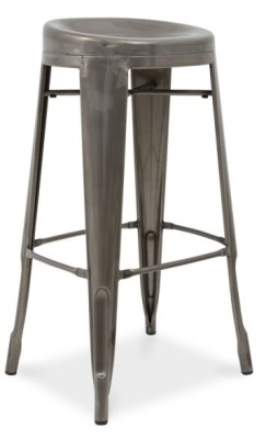 Xavier Pauchard High Stool With A Round Seat In A Gun Metal Finish