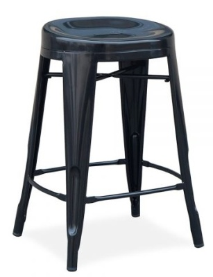 Xavier Pauchard Low Stool With A Round Seat In A Black Finish