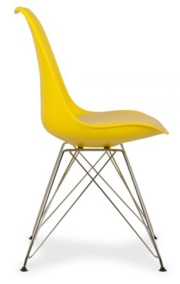 Eames Inspired Yellow Chair With A Padded Seat Side View