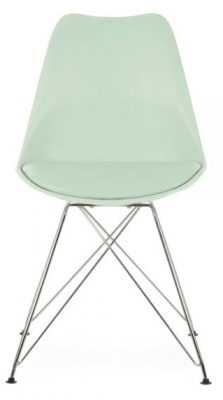 Eames Inspired Dining Chair Wih Eiffel Legs And A Padded Seat In Peppermint Green