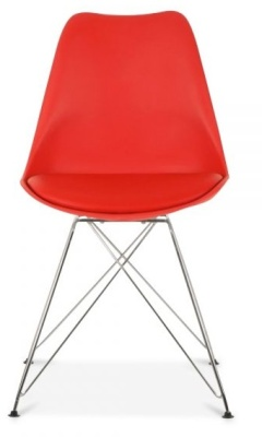 Eames Inspired Chair In Red With Eiffel Legfs And A Seat Pad