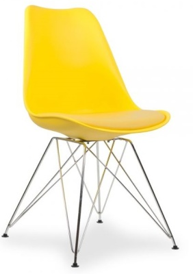 Eames Inspired Poly Chair In Yellow With Eiffel Legs And A Seat Pad