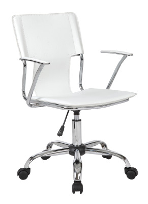 Allure White Leather Chair Front Angle