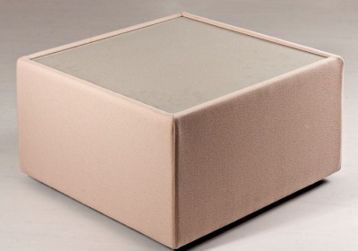 Roxy Upholstered Square Glass Coffee Table