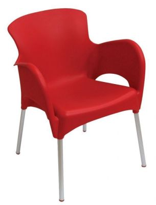 Titan Durable Thermoplastic Dining Hall Chair In Red Moulded Plastic
