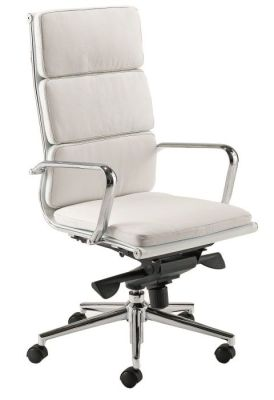 Eames Soft Padded White Leather Superior Directors Chair
