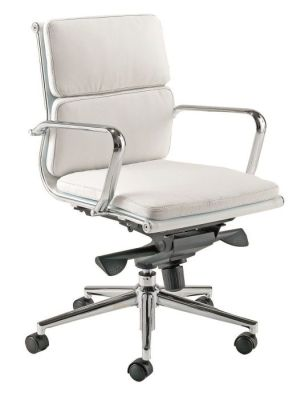 Eames White Mid Back Swivel Meeting Chair
