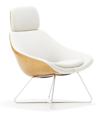 Open Desogner Tub Chair With Wire Frame And Headrest Front Angle