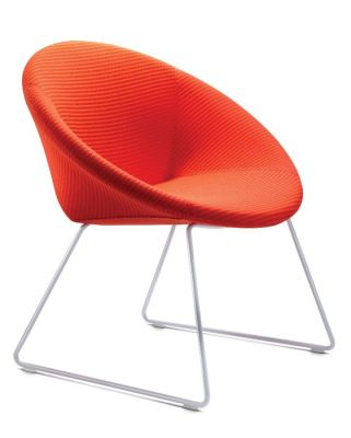 Poppy Tub Chair With A Sled Frame Front Angle View