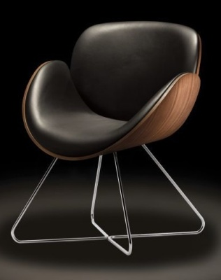 Spirit Designer Tub Chair With Walnut Outer And Wire Frame
