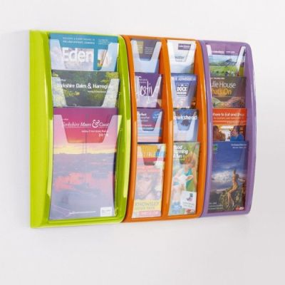 Wall Mounted Green,orange And Purple Panaoramic Leaflet Dispensers