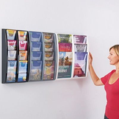 Panorama Wall Mounded Black,grey And White Leaflet Holders