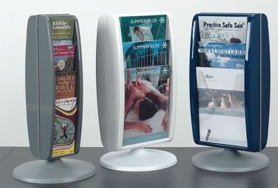 Panorama Table Top Leaflet Holders In Three Colours And Two Different Sizes