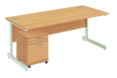 Abacus Rectangular Desk And Pedestal