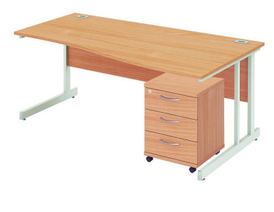 Abacus Right Hand Wave Desk With Underdesk Pedestal