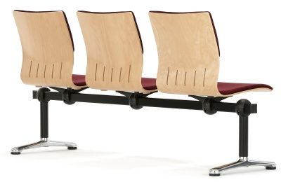 Three Seater Beam With Upholstered Seat And Back Rear View