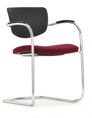 Contour Chair Cantilever Frame Upholstered Seat Front Angle