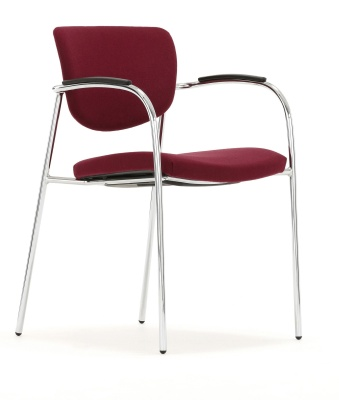 Contour Upholstered Chair With Arms Front Angle Shot