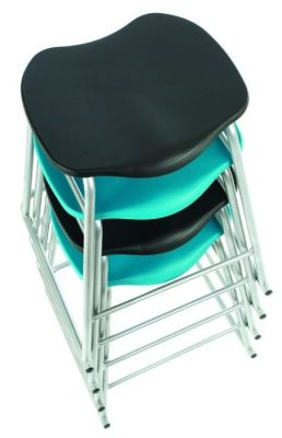 Stacked Technician Stools In Black And Turquoise Seats With Protective Splayed Frame