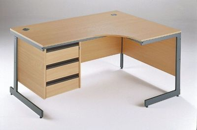 Maddellex Right Hand Corner Cantilever Desk In Beech With Built In Three Drawer Pedestal