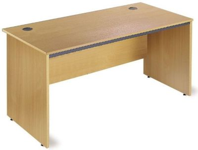 Maddellex Rectangular Beech Desk With Side Panells