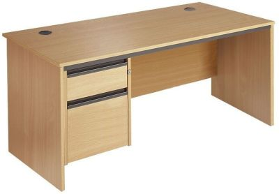 Maddellex Rectangular Desk In Beech With In-built Pedestal Comprising Box Drawer And Foolscap Filing Drawer