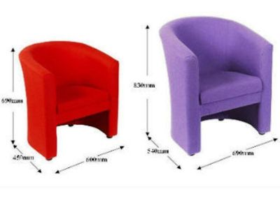 Mini Roxy Tub Chairs In Red And Purple Fabric With Dimensions