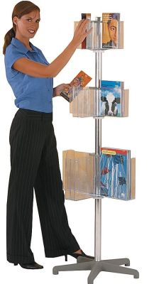 Pirouette Leaflet Dispenser With Three Tiers Of 8 Clear Plastic Holders In A4 And A5
