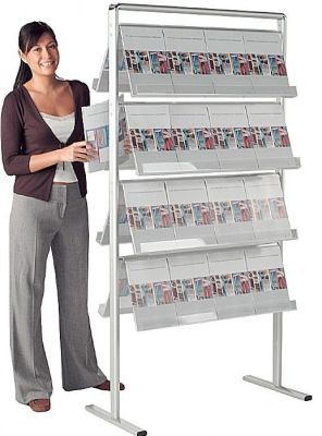 Large Double Sided Freestanding Leaflet Dispenser With Transparent Acrylic Holders For Visibility