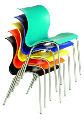 Bolero Polypropylene Chair With Powder Coated Steel Legs In Turquoise,blue,yellow,orange And Black