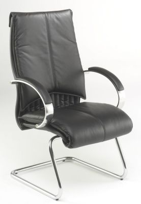 Valentino Black Leather Visitors Chair With Cantilever Chrome Base