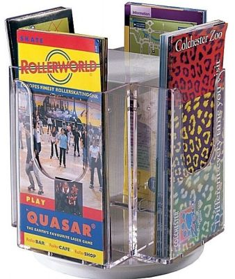 Revolving Table Top Leaflet Holder With Four Clear Acrylic Pockets