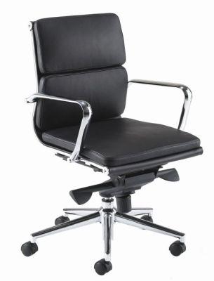 Eames Designer Office Chair In Black Leather With Medium Back And Chrome Armrests