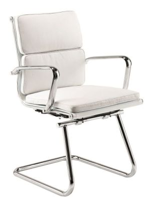 Classic Charles Eames Design Cantilever Meeting Chair In White Leather With Chrome Frame And Armrests
