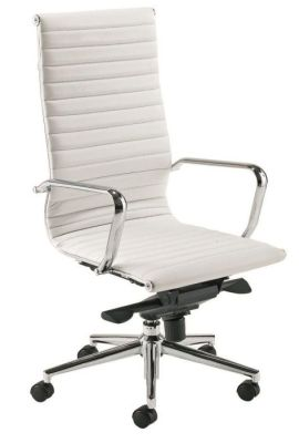 Aria High Back Designer White Leather Directors Chair