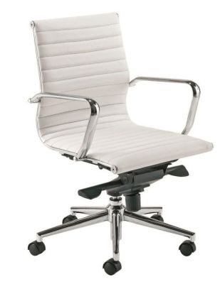 Aria Medium Back White Leather With Classic Style Ribbed Back Design