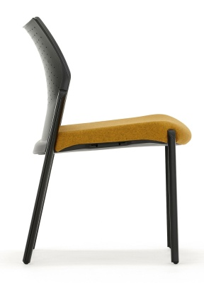 Trillipse Chair Black With Upholostered Seat Side View