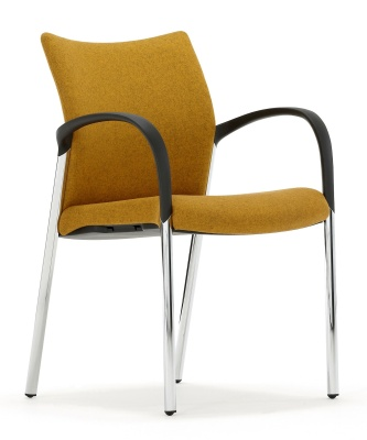 Trillipse Chair With Arms And A Chrome Frame Front Angle View