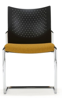 Trillipse Chair With A Chrome Cantilever Frme And Upholstered Seat Facing