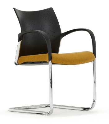 Trillipse Chair With Arms And A Cantilever Frame Fron Angle View
