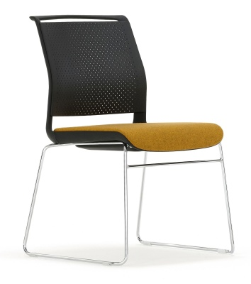 Adlib Chair Skid Frame And Black Shell Front Angle