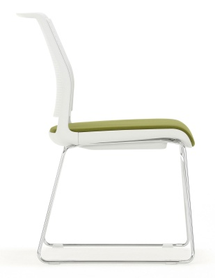 Ad Lib Chair Light Grey Shell And Skid Frame With Upholstered Seat Side View