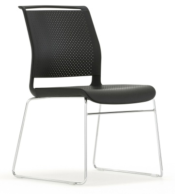 Adlib Chair With Skid Frame In Black Front Angle Shot