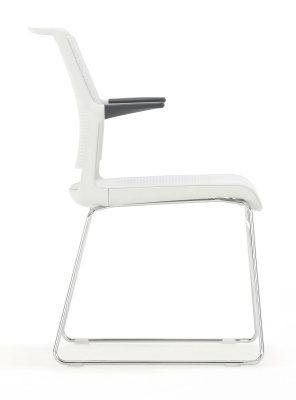 Adlib Conference Chair With A Light Grey Shell Side View