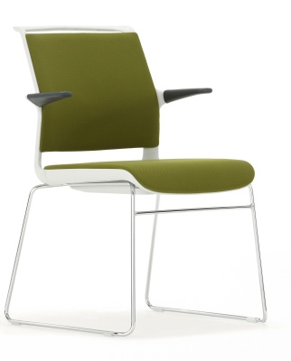 Ad Lib Chair Fully Upholstered With A Light Grey Shell And Arms