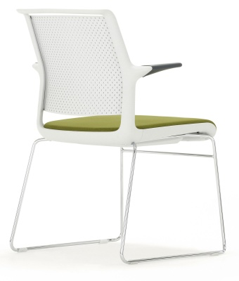 Ad Lib Chair With An Upholstetred Seat And Arms Light Grey Frame