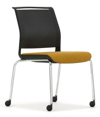 Ad Lib Mobile Conference Chair With An Upholstered Seat Front Angle