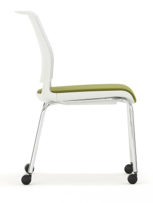 Ad Lib Mobile Conference Chair With An Upholstered Seat Side View